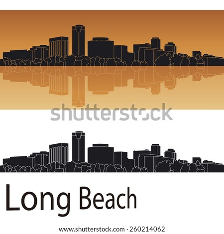 long beach skyline in orange