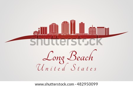 long beach skyline in red and