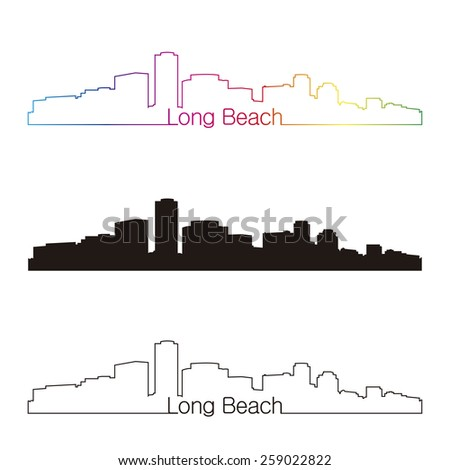 long beach skyline linear style