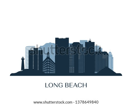 Long Beach skyline, monochrome silhouette. Vector illustration.