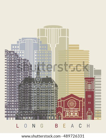 long beach skyline poster in