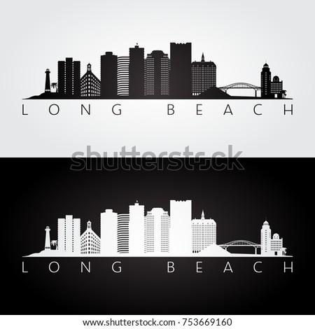 long beach usa skyline and