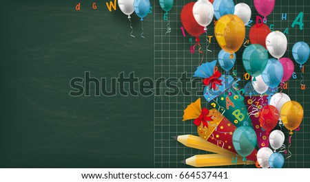 Long blackboard with colored balloons, pencils, candy cones and letters. Eps 10 vector file.
