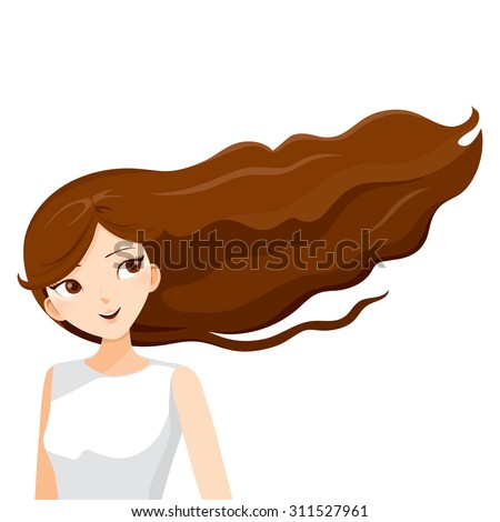 long brown hair of young woman