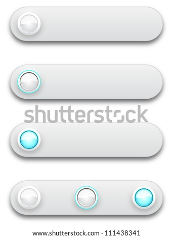 Long button, off, selected and pushed, vector illustration, eps10