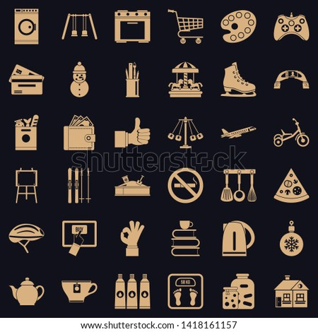 Long childhood icons set. Simple set of 36 long childhood vector icons for web for any design
