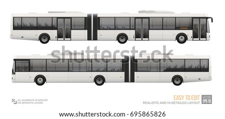 long city bus isolated vector template on white background long