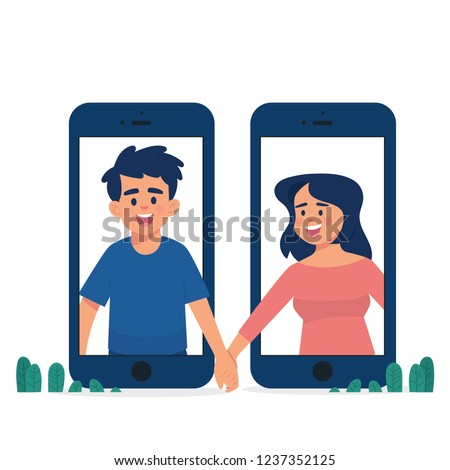 long distance relationship concept, man and woman holding hands in different phone