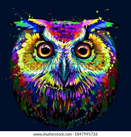 Long-eared Owl. Abstract, multicolored, graphic  portrait of an owl in the style of pop art on a dark blue background. Digital vector drawing