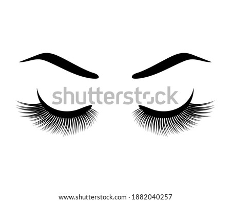 Long eyelashes and eyebrow on a white background. Symbol. Vector illustration. Сток-фото ©
