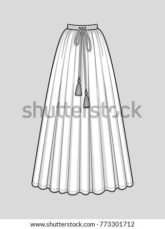 Long flared skirt with a smocked elastic waist. Tasseled tie waist. Floor length. Technical flat sketch. Vector illustration.