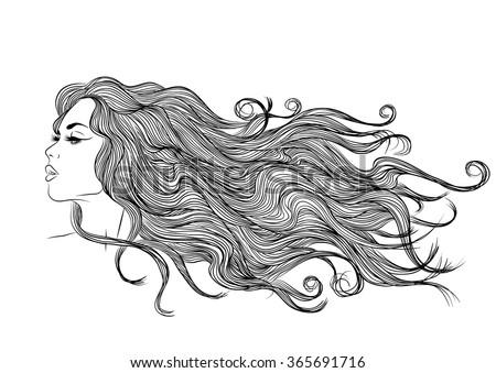 long hair girl profile outline monochrome drawing ez canvas