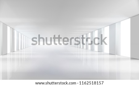 Long hall with the windows. Vector illustration.