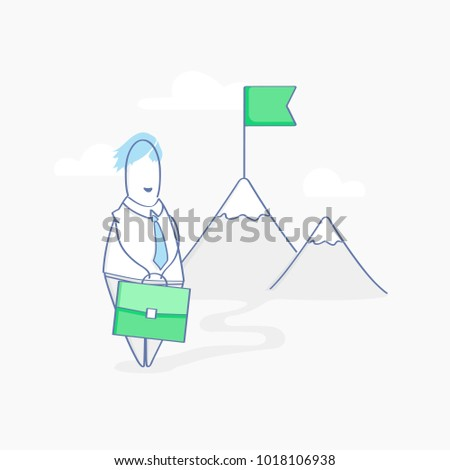 Long hard business way to Success. Cute Cartoon character, businessman standing with case near the mountains. In the distance on the mountain you can see the flag - his Purpose, Goal, Aim. Vector icon
