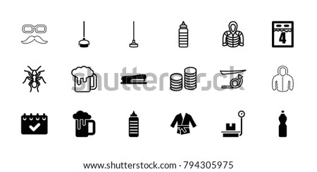 Long icons. set of 18 editable filled and outline long icons: fitness bottle, stapler, kimono, calendar, 4th date calendar, ant, straight hair, hoodie, beer mug, hoe, coin