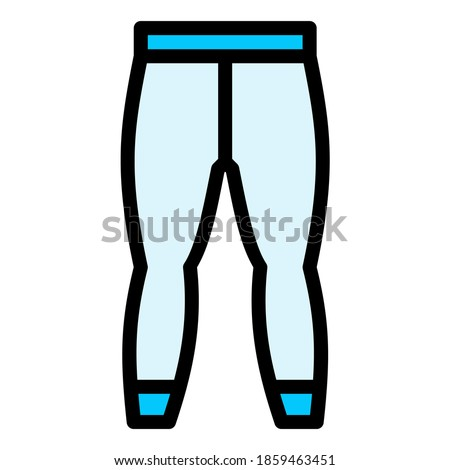 Long john or legging for sports or winter in blue filled outline icon ストックフォト ©