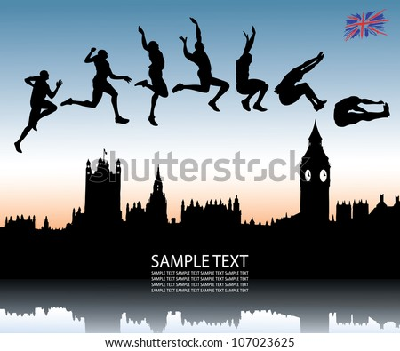 Long jump over London city - vector illustration