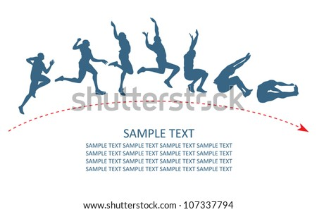 Long jump trajectory - vector illustration
