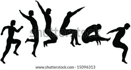 long jump -vector - silhouette