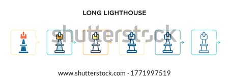 long lighthouse vector icon in