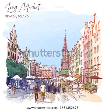 Long Market Square, Gdansk, Poland. Vintage design. Watercolor Painted sketch on a white background. EPS10 vector illustration.