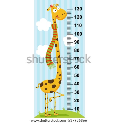 long neck giraffe height measure (in original proportions 1:4) - vector illustration, eps