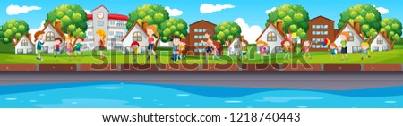 Long outdoor park scene illustration #1218740443