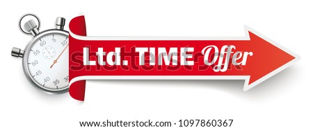 Long red arrow with a stopwatch and the text Ltd Time Offer on the white background. Eps 10 vector file.