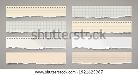 Long ripped colorful paper strips. Realistic crumpled paper scraps with torn edges. Lined shreds of notebook pages. Vector illustration. Photo stock ©
