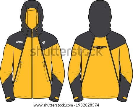 Long sleeve Hoodie jacket design template in vector, Hooded jacket with front and back view, hooded winter jacket for Men and women. for training, Running and workout in winter ストックフォト ©