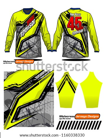 Long sleeve Motocross jerseys t-shirts vector,  graphic design for football uniforms, unisex cycling, navy submariner and sportswear. #1160338330