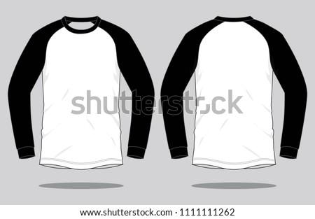 Long Sleeve Slope Shoulde  T-shirt Design : White / Black