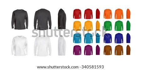 Long sleeve t-shirt big collection of different colors, front, side and back view, vector eps10 illustration.