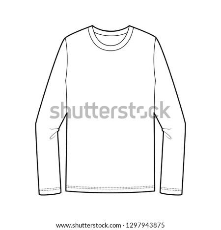 LONG SLEEVE TEE fashion flat technical drawing template