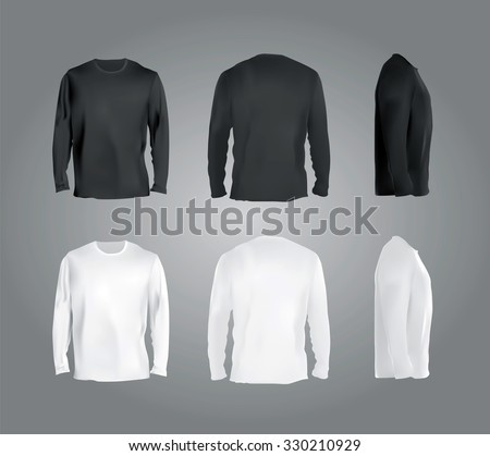 Long Sleeved T Shirt Templates Collection Front Back Side Views Black