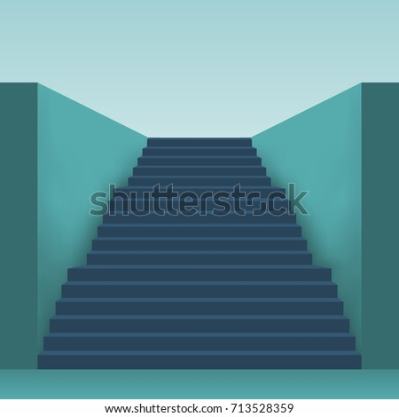 Long stairs with many steps. Staircase up front view in perspective. Vector illustration flat design. Isolated on white background. Way forward concept.  #713528359