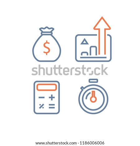 Long term investing strategy, financial performance report, revenue increase, interest rate chart, fast income growth, mutual fund, quick loan, expenses calculating, stopwatch time period, line icon