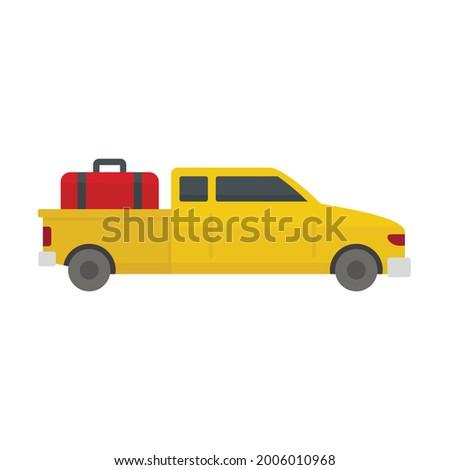long travel car icon flat