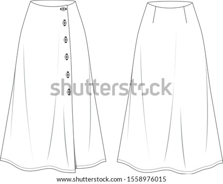 long vector skirt in front and