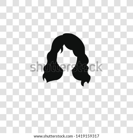 long wavy hair variant icon from  collection for mobile concept and web apps icon. Transparent outline, thin line long wavy hair variant icon for website design and mobile, app development