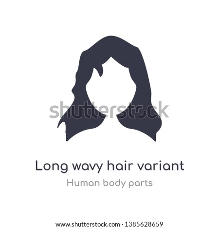 long wavy hair variant outline icon. isolated line vector illustration from human body parts collection. editable thin stroke long wavy hair variant icon on white background