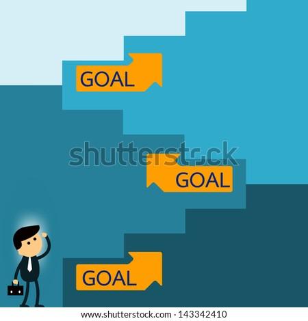 long way to goal businessman