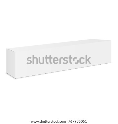 Long white cardboard box mockup - side view - side view. Rectangular closed thin box isolated. Vector illustration