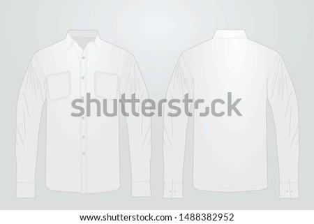 Long white sleeve shirt. vector illustration #1488382952
