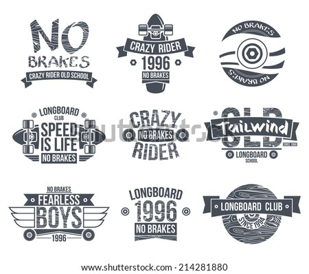 longboard club emblems graphic