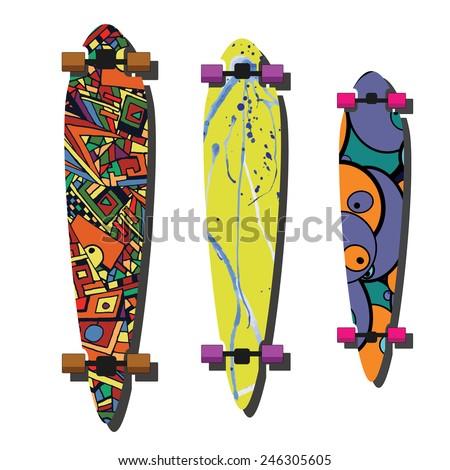Longboard design Vector illustration