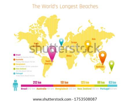 longest world beach map