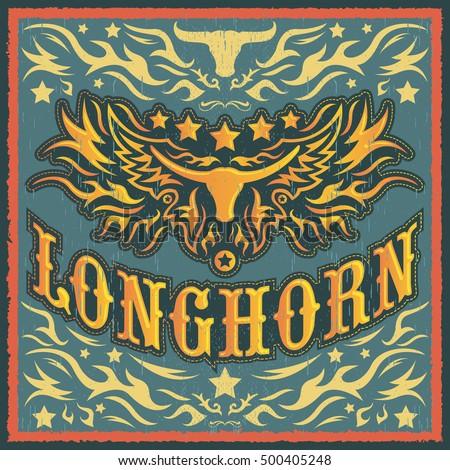 longhorn vintage western vector