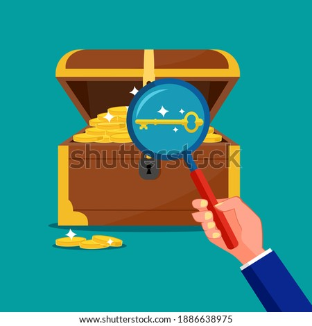 look at the keys in the treasure chest. The concept of the key is a treasure Сток-фото ©