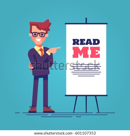 Look here! Happy young handsome businessman in suit pointing  to the flipchart  with the inscription read me. Flat vector illustration.
